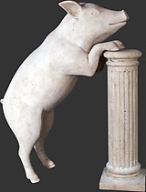 Curious Pig Statue Roman Stone Finish