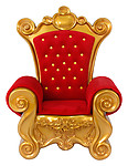 Large Santa Throne Chair in Red Velvet and Gold Frame