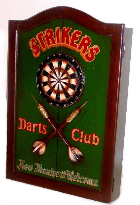DARTS BOARD CABINET   STRIKERS THEME. Loading Zoom