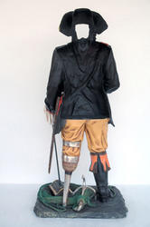 Faceless Peg Leg Pirate Statue for Photo Taking