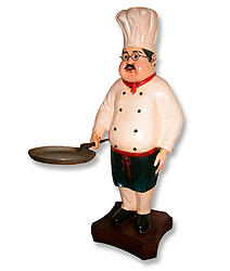 Chef Statue with Skillet Pan