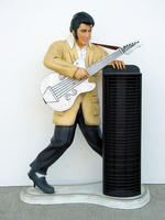 Rock and Roll Singer Singer Statue with CD Rack