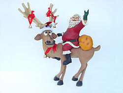 REINDEER STANDING WITH SANTA CLAUS 4FT