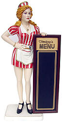 Fifties Diner Waitress with Menu Board Life Size 5.5 FT