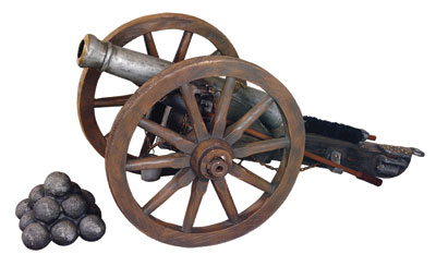 CANNON WITH WAGON WHEELS