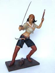 LADY PIRATE WITH SWORD STATUE - LIFE SIZE