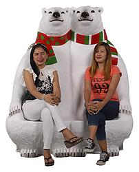 Polar Bears Sitting Jumbo Statue with Paw Seats