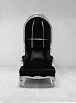 Throne High Back Canopy Chair in Black Velvet and Silver Frame