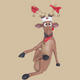 Funny Reindeer Sitting with Cross legs Christmas Decor 1FT