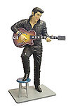 Elvis Statue Life Size in Black leather Suit with Guitar and Stool