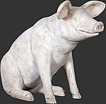 Sitting Pig Statue - Roman Stone Finish