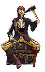 Skeleton Pirate Drinking on Treasure Box Statue Life Size