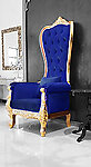 Baroque Throne Chair Queen High Back Chair in Blue Velvet