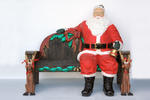 SANTA CLAUS SITTING ON CHRISTMAS BENCH - LIFE SIZE