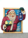 SANTA IN WINDOW W/ OIL LANTERN